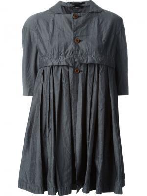 Расклешенное пальто на пуговицах Comme Des Garçons. Цвет: серый