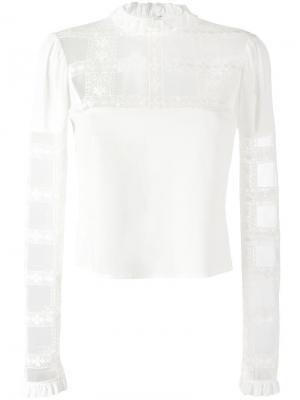 Блузка с прозрачной панелью Giamba. Цвет: белый