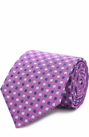 Шелковый галстук с узором Eton. Цвет: сиреневый