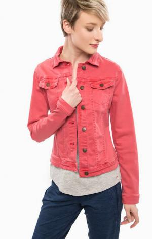 Джинсовая куртка с декоративными клапанами TOM TAILOR. Цвет: красный