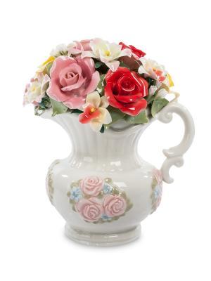 Статуэтка Кувшин с цветами Pavone. Цвет: белый