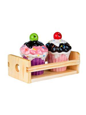 Набор солонка и перечница Кекс на деревянной подставке Elff Ceramics. Цвет: фиолетовый, розовый