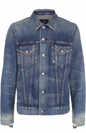 Джинсовая куртка с декоративными потертостями Citizens Of Humanity. Цвет: темно-синий
