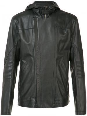Кожаная куртка с капюшоном Helmut Lang. Цвет: чёрный
