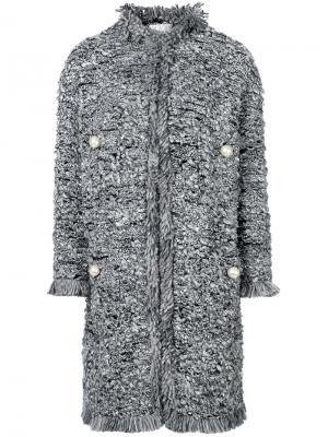 Пальто с жемчужной отделкой Edward Achour Paris. Цвет: серый
