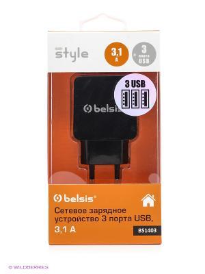 Сетевое зарядное устройство 3 USB, 3,1 A, черный Belsis. Цвет: черный