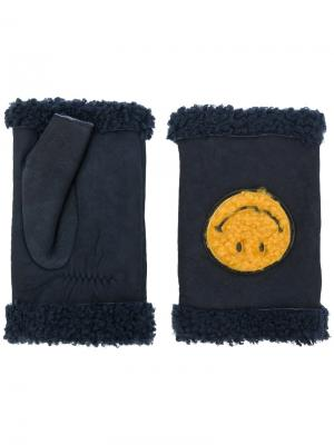 Перчатки-митенки Smiley Agnelle. Цвет: синий