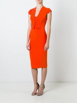 Платье с фестонами Antonio Berardi. Цвет: жёлтый и оранжевый