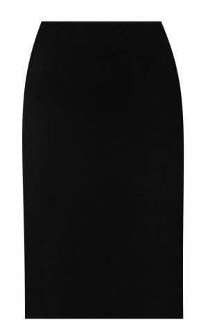 Юбка-миди фактурной вязки St. John. Цвет: черный
