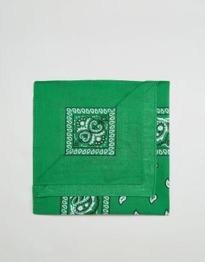 7X Зеленая бандана с принтом пейсли. Цвет: зеленый