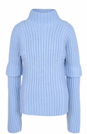 Шерстяной свитер фактурной вязки Victoria Beckham. Цвет: голубой