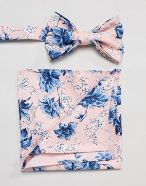 ASOS Галстук-бабочка и платок-паше розового цвета с цветочным принтом. Цвет: розовый