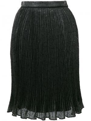 Плиссированная юбка с пайетками Carven. Цвет: серый