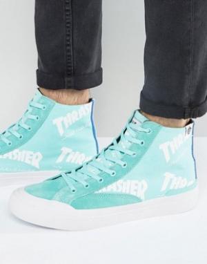HUF Высокие кроссовки с логотипом x Thrasher. Цвет: зеленый