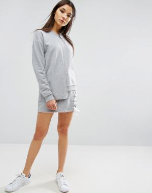 ASOS Трикотажная юбка со шнуровкой. Цвет: серый