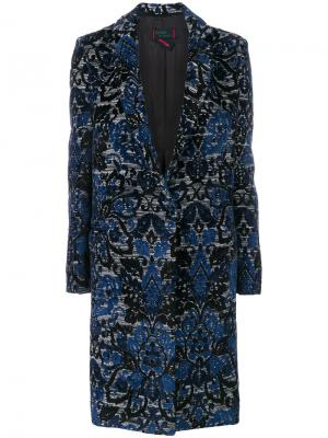 Однобортное пальто с вышивкой Femme By Michele Rossi. Цвет: синий