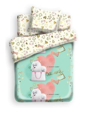 Постельное белье Тайная жизнь домашних животных. Цвет: белый, бирюзовый, розовый