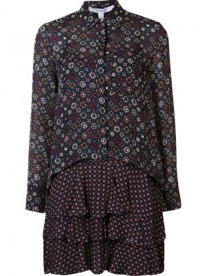 Платье-рубашка с узором Derek Lam 10 Crosby. Цвет: синий