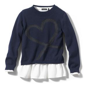 Пуловер с круглым вырезом, из тонкого трикотажа IKKS JUNIOR. Цвет: темно-синий/белый