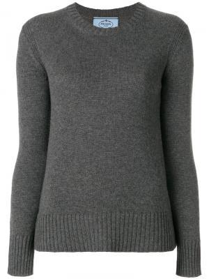 Джемпер с круглым вырезом Prada. Цвет: серый