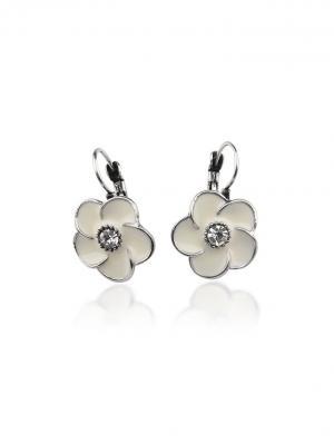 Серьги Белые цветы Chocopony. Цвет: серебристый, белый