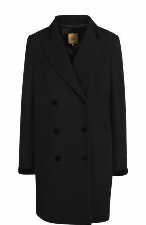 Шерстяное двубортное пальто Fay. Цвет: черный