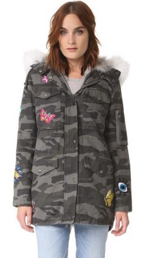 Пальто-карго с серым камуфляжным принтом Jocelyn. Цвет: голубой