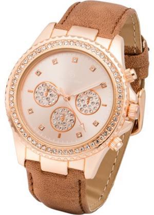 Наручные часы с аппликацией из страз (коричневый/розово-золотистый) bonprix. Цвет: коричневый/розово-золотистый