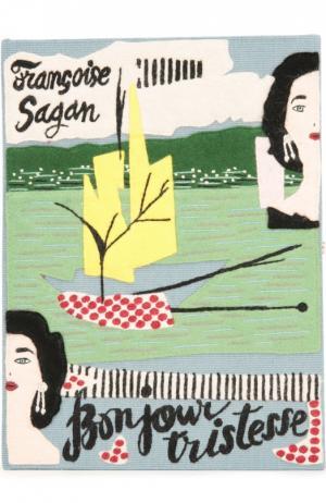 Клатч в виде книги с аппликацией Olympia Le-Tan. Цвет: голубой
