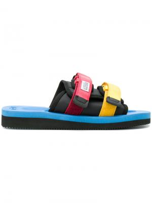 Colour block double strap sandals Suicoke. Цвет: синий