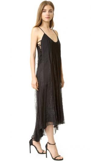 Платье с кружевными вставками Haute Hippie. Цвет: голубой