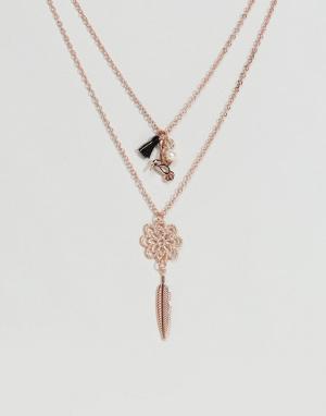 ASOS Тонкое ожерелье в несколько рядов с птицей и пером. Цвет: медный