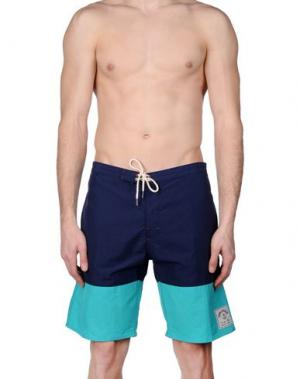 Пляжные брюки и шорты IRON AND RESIN. Цвет: темно-синий