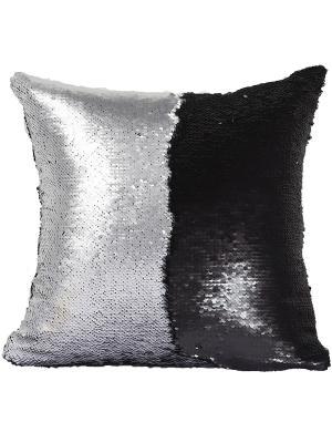 Подушка с пайетками  декоративная GOOD MOOD, коллекция Magic Shine MOOD. Цвет: черный, серебристый
