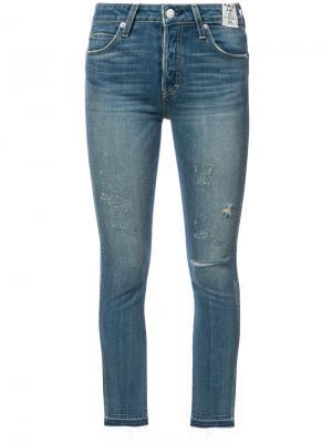 Укороченные джинсы скинни Amo. Цвет: синий