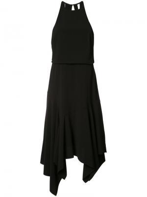 Платье с плиссированным подолом Halston Heritage. Цвет: чёрный
