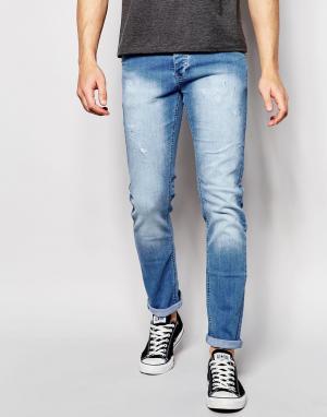 Loyalty & Faith Светлые выбеленные джинсы скинни. Цвет: синий