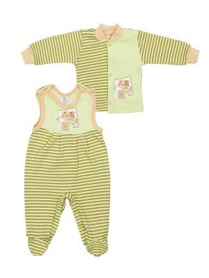 Комплект одежды: кофточка, полукомбинезон Коллекция Лёва КОТМАРКОТ. Цвет: светло-зеленый