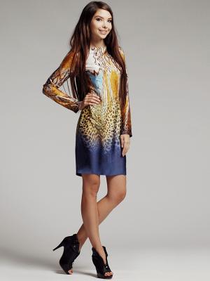 Платье Xarizmas. Цвет: коричневый, бежевый, синий