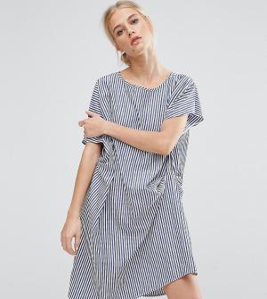 Zacro Драпированное цельнокройное платье в полоску. Цвет: синий