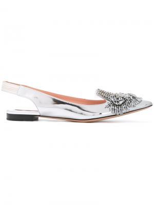 Декорированные туфли с заостренным носком Rochas. Цвет: металлический