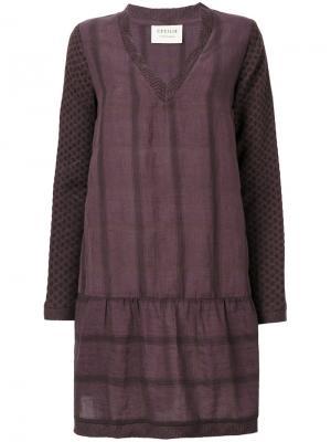 Платье с V-образным вырезом Cecilie Copenhagen. Цвет: розовый и фиолетовый