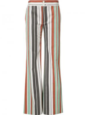 Расклешенные полосатые брюки Chloé. Цвет: зелёный