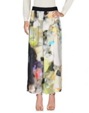 Длинная юбка MARIA CALDERARA. Цвет: кислотно-зеленый