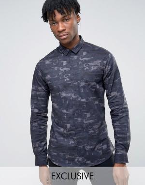 Noak Строгая рубашка скинни с абстрактным принтом. Цвет: темно-синий