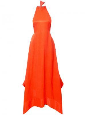 Вечернее платье с вырезом-петлей халтер Solace. Цвет: красный