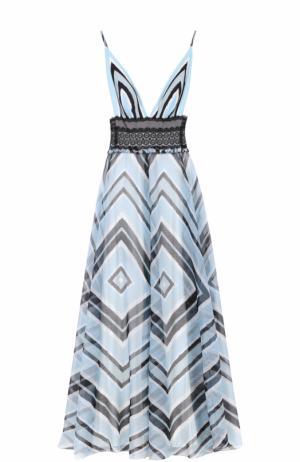 Платье-макси с принтом и октрытой спиной Tadashi Shoji. Цвет: синий