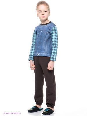 Комплекты одежды Апрель. Цвет: голубой, темно-коричневый, белый, бирюзовый