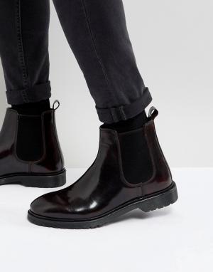 ASOS Бордовые кожаные ботинки челси. Цвет: красный