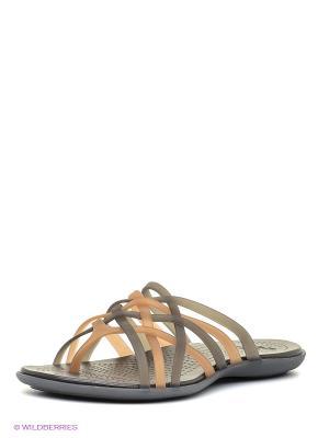Пантолеты Huarache Flip-Flop CROCS. Цвет: коричневый